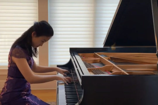 Ivyann Shen performs in the instrumental music category of The Festival of Young Artists.