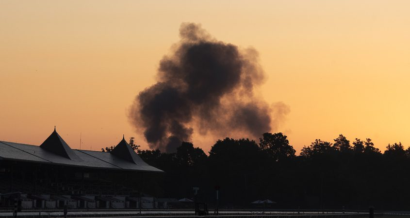 The smoke from the crash and fire visible from Saratoga Race Course