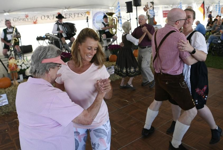 Dancers polka to 'Roll Out the Barrel' at the 10th annual Glenville Oktoberfest at Maalwyck Park in 2019.