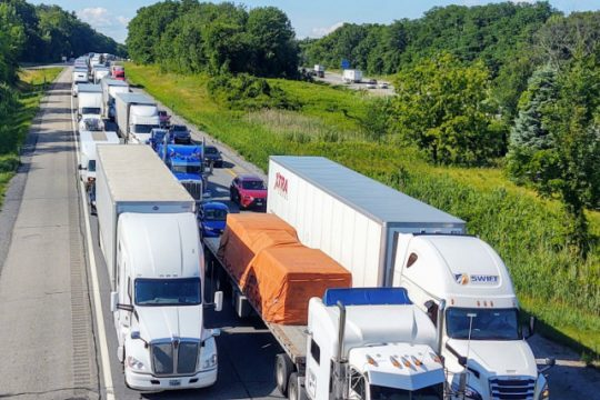 Traffic backed up on the Northway Monday