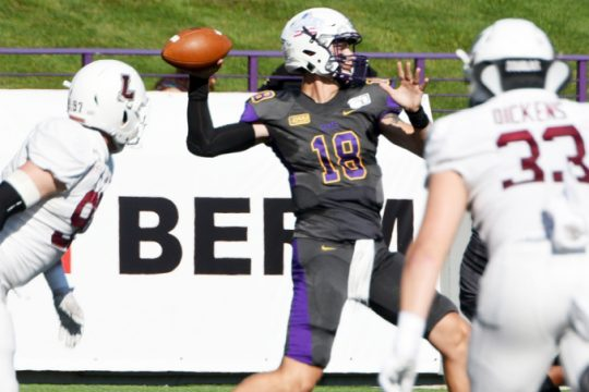UAlbany's Jeff Undercuffler passes during a September 2019 game against Lafayette at Tom & Mary Casey Stadium.