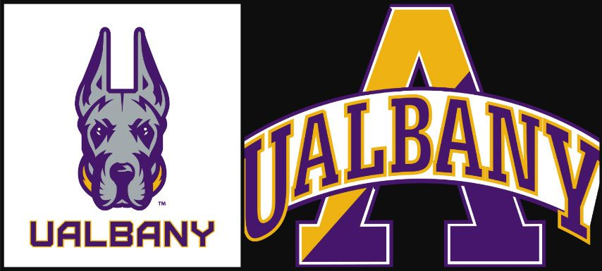 UAlbany's new and old athletic logos.