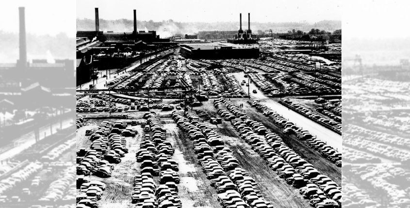 The packed parking lot of GE during wartime