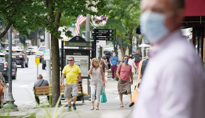 People in downtown Saratoga Springs Wednesday