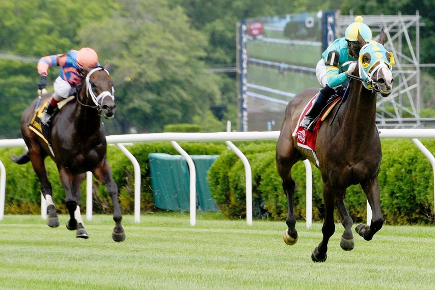 Cross Border, right, with Jose Ortiz aboard, pulls away from Blewitt to win the Lubash.