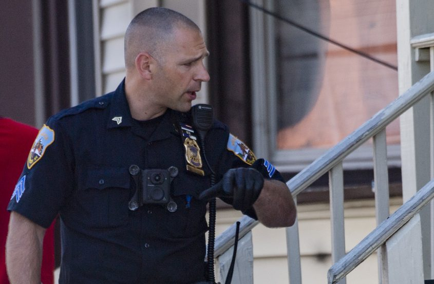 Officer Sgt. Adam Nowicki at the scene Tuesday