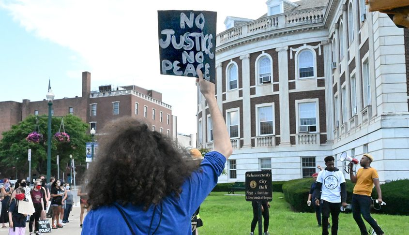 Protesters outside Schenectady City Hall July 13