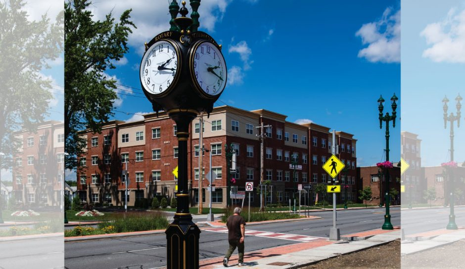 A new clock has been installed on Erie Boulevard near the former Grossman's site in Schenectady Friday, July 24, 2020.