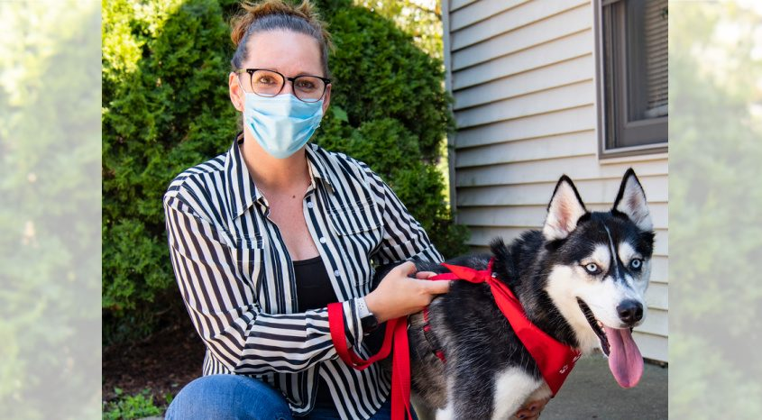Animal Protection Foundation Operations Manager Stephanie Johnston with Hendricks on Maple Avenue in Glenville Friday