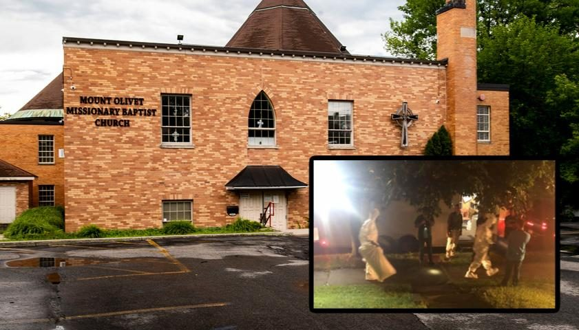 Mount Olivet Missionary Baptist Church Thursday (background); Agents on Wendell in Haz-Mat suits Wednesday night (inset)