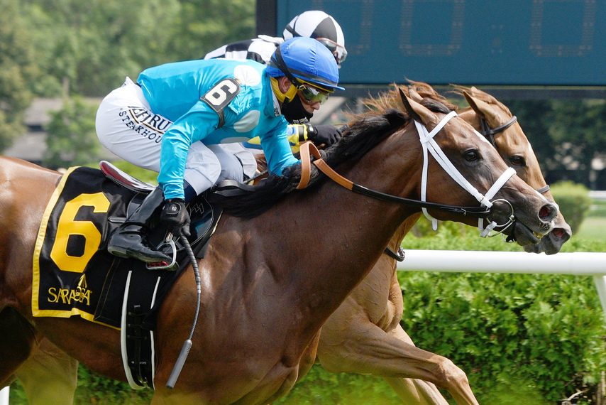 Starship Jubilee and Javier Castellano (6) get up to win the Grade II Ballston Spa at Saratoga.