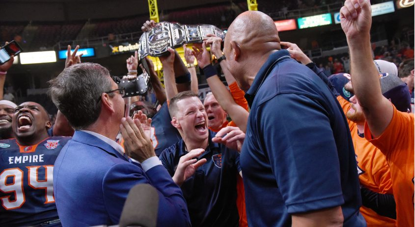 The Albany Empire celebrate winning the 2019 ArenaBowl title at Times Union Center.