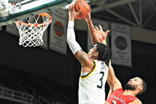 Manny Camper announced Wednesday that he withdrew from the NBA draft and will return to Siena for his senior year.