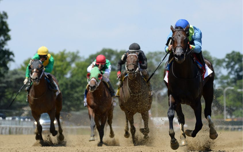 No Parole, far right, wins the Woody Stephens at Belmont Park on June 20.