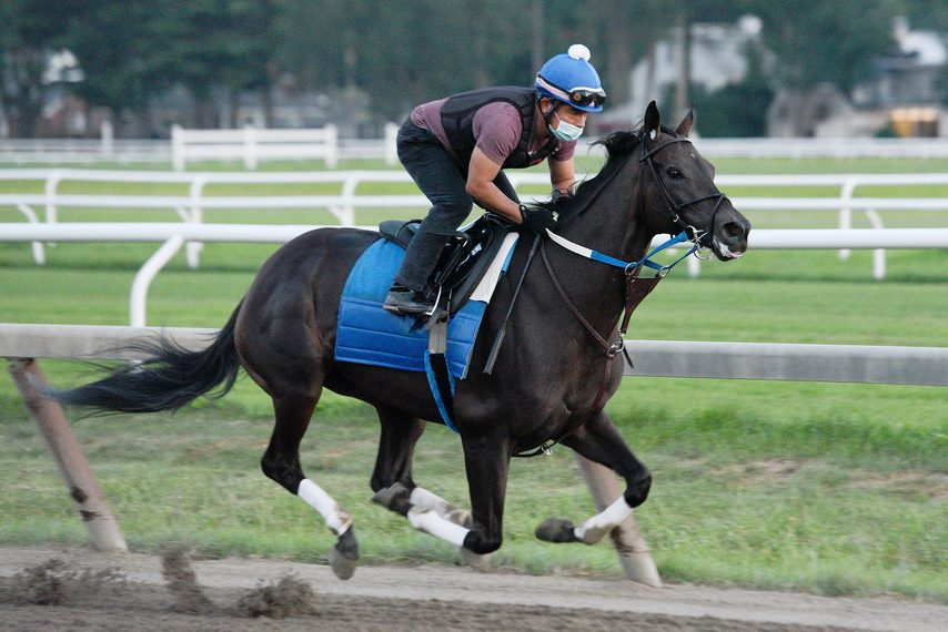 Midnight Bisou breezes four furlongs in 50.55 on the Oklahoma training track on Monday.