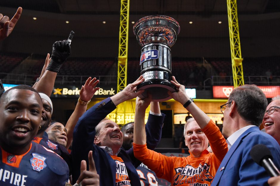 Albany Empire celebrates their win 45-27 over Philadelphia Soul during ArenaBowl 32 in Albany on Aug. 11.