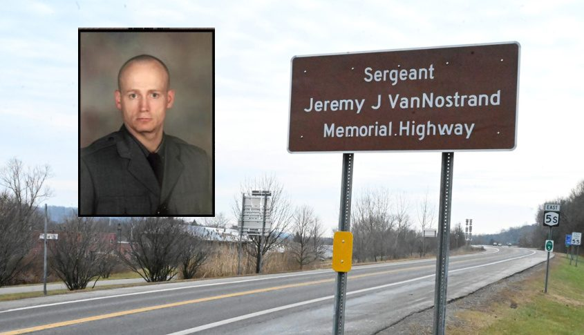 State Police Sgt. Jeremy VanNostrand (inset); The stretch of Route 5S now named for him (background)