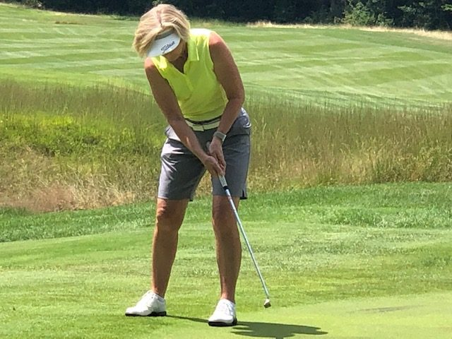 Susan Kahler of Ballston Spa CC putts during last year's NEWGA Championship.