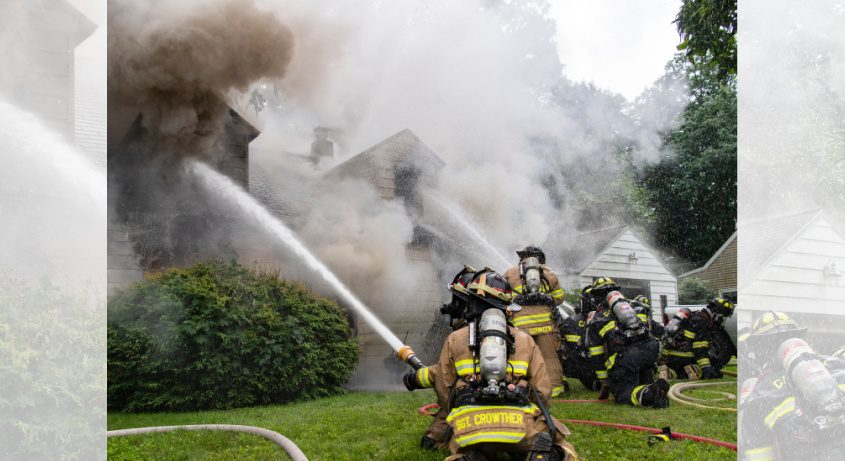 Firefighters at the scene Sunday