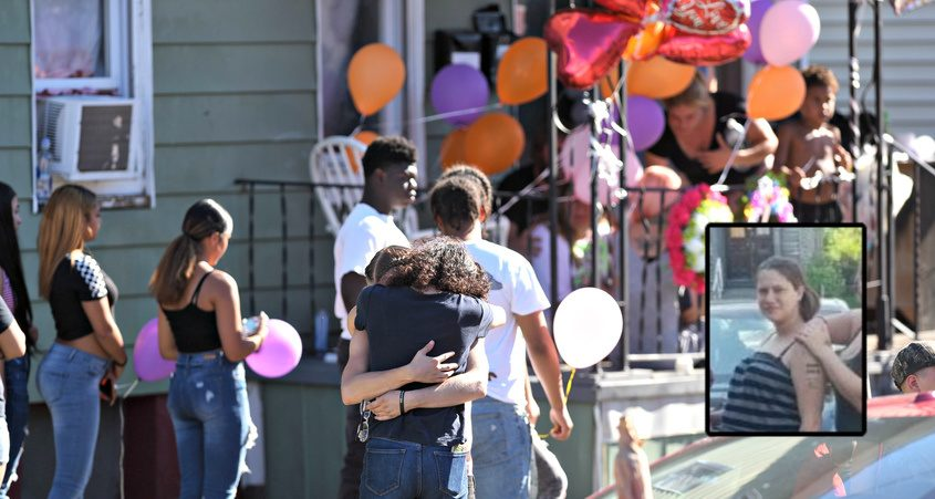 Family and friends gather at the shooting scene Monday; Jennifer Ostrander (inset)