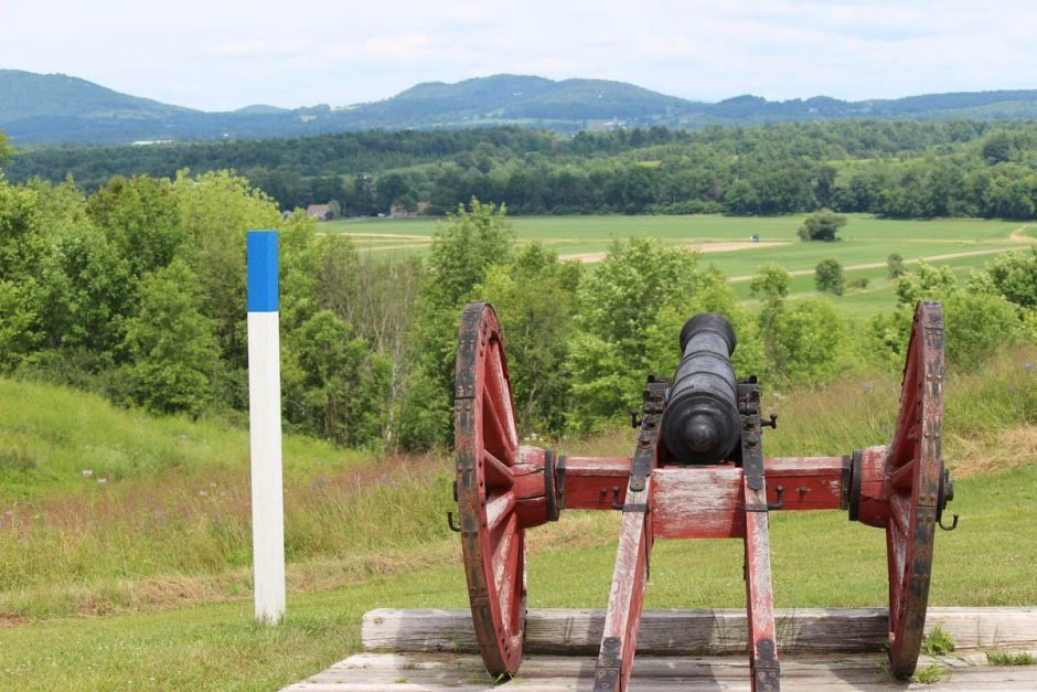 A cannon is seen at tour stop 3 at Saratoga National Historical Park on July 16, 2014.
