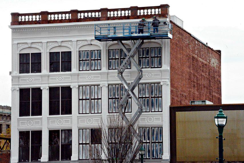 Jeff Buell and Redburn Development Partners restoring the old Gazette Press Building on Broadway last year.