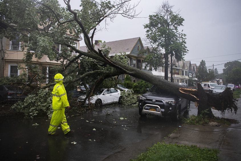 A downed tree blocks Stanley Street in Schenectady on Tuesday.