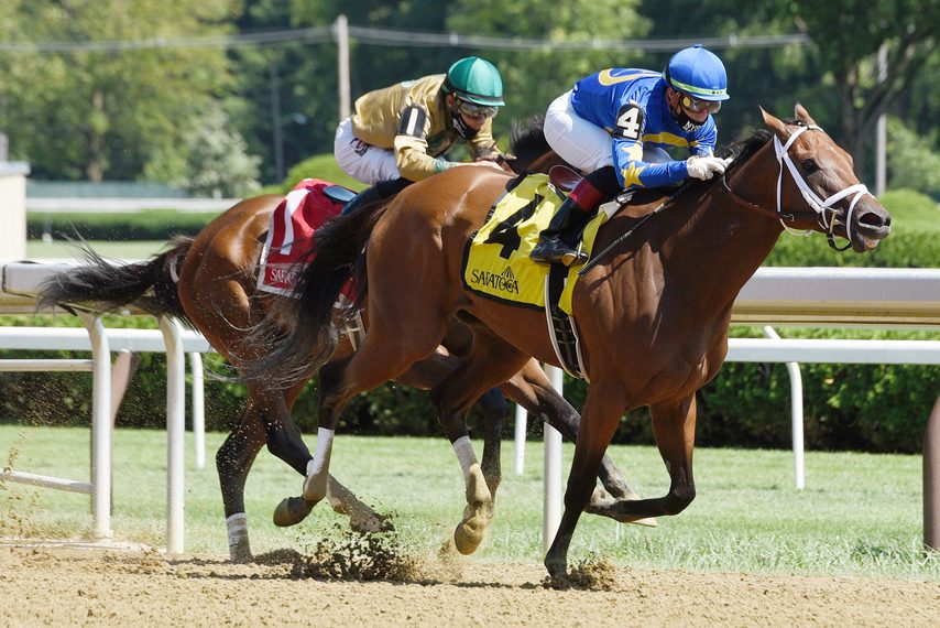 After dueling the length of the main track, Nonna Madeline pulls away from Golden Award in the Summer Colony at Saratoga.