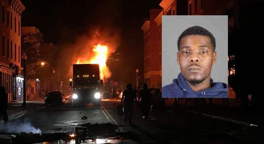 Ah-Juan Boyd (inset); The burning tractor trailer (background)