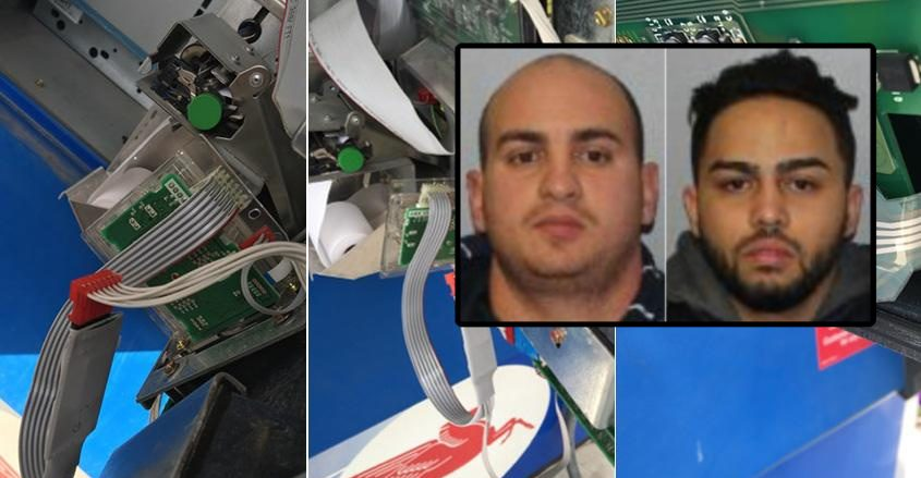 Yudiel Ceballos (left) and Yuny Rodriguez Hurtado in 2017 (insets); Photos of skimming machines found in Fonda in 2017