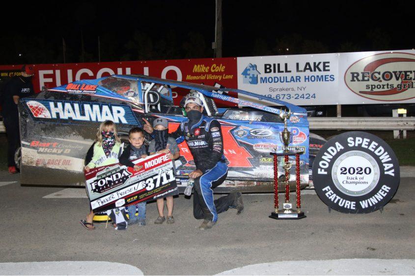 Stewart Friesen celebrates winning the Sunoco Modified 30-lap feature on Wednesday night at Fonda Speedway.