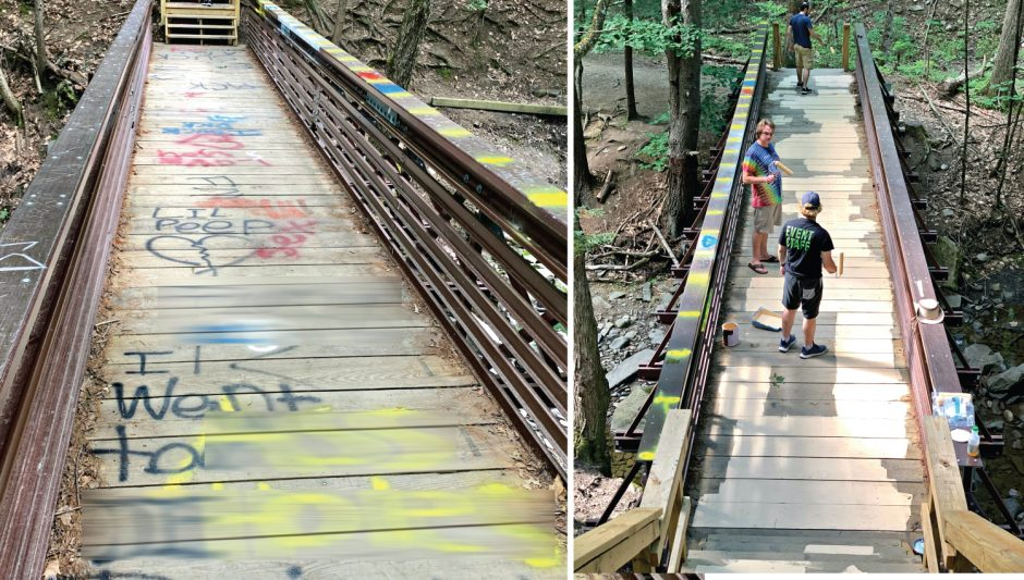 Edited photo of spray painted vandalism; Right: A group repaints the bridge Aug. 2, 2020.