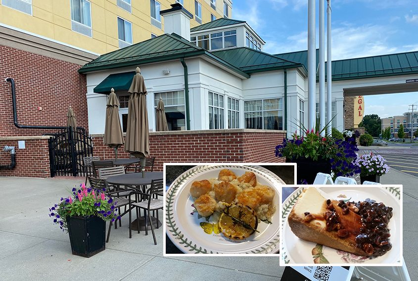The exterior of 30 Park is shown. Inset: turtle cheesecake with pecans and chocolate chips and tipsy scallops with grits.