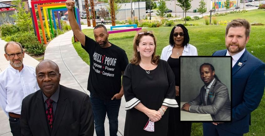 Members of the Capital Region Antiracist Community Training Initiative are seen in Schenectady's Gateway Park on July 16.