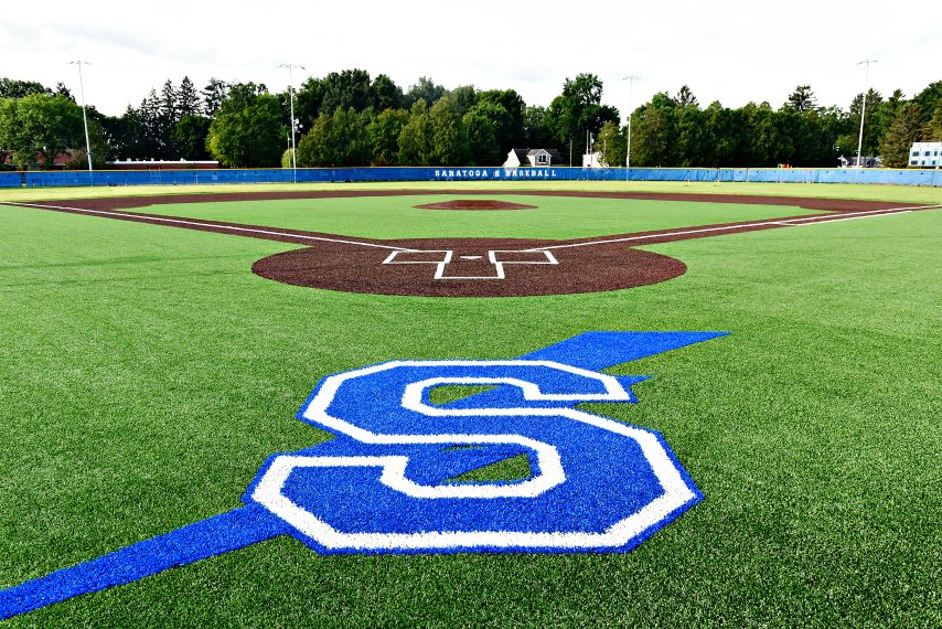 The new turf baseball field at East Side Rec in Saratoga Springs.