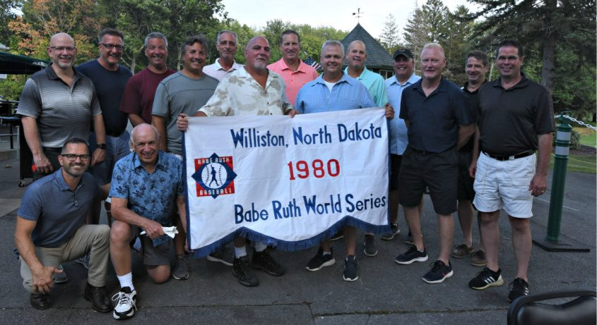 Members of the 1980 Rotterdam Babe Ruth World Series team gather for a 40th year reunion Sunday. Photo by