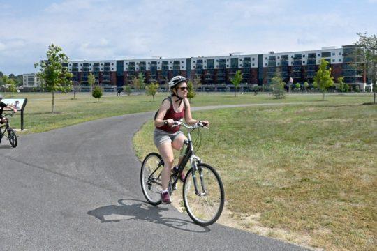 Bicyclists at Mohawk Harbor.