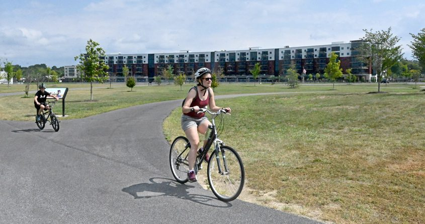 Bicyclists at Mohawk Harbor.