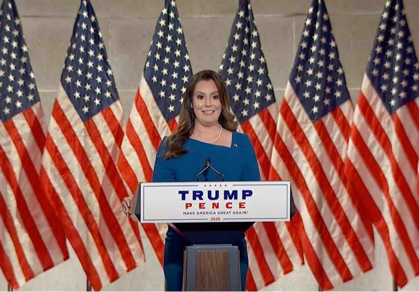 Rep. Elise Stefanik (R-N.Y.) addresses the Republican National Convention via video. Credit:Republican National Convention via The New York Times