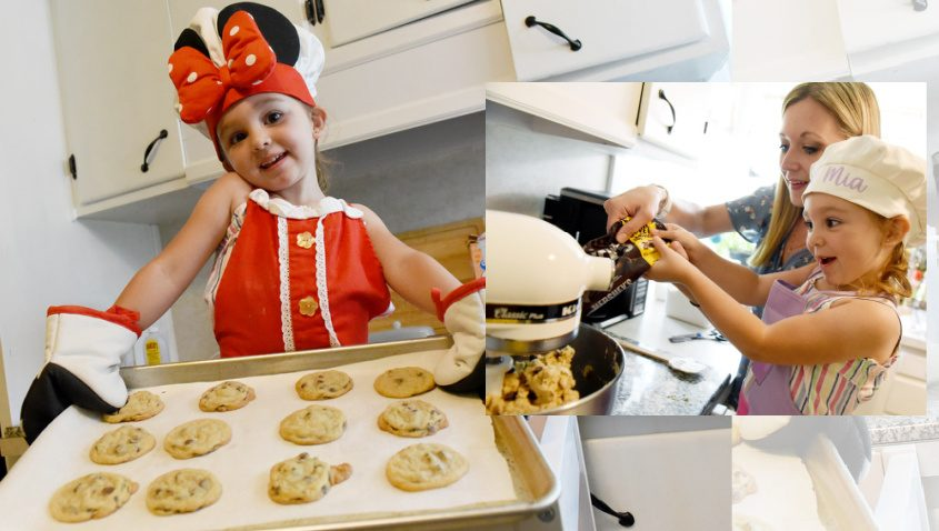 Mia Villa, 3, with help of her mother Devin, prepare chocolate chip cookies for first responders. Photo by Erica Miller