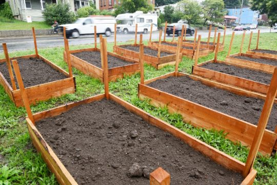 New garden beds have been made on East Main Street for an upcoming project in Amsterdam on Wednesday, Sept. 2, 2020. Photo by Erica Miller/Staff
