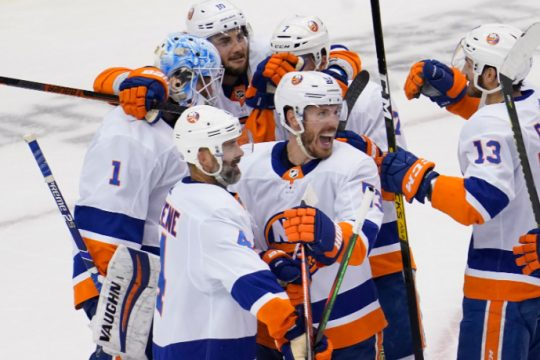 The New York Islanders celebrate eliminating the Philadelphia Flyers from the Stanley Cup Playoffs on Saturday.John E. Sokolowski/USA TODAY Sports