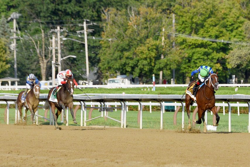 Jockey Joel Rosario looks back and sees no threat from the competition as Jackie's Warrior runs away with the Hopeful.