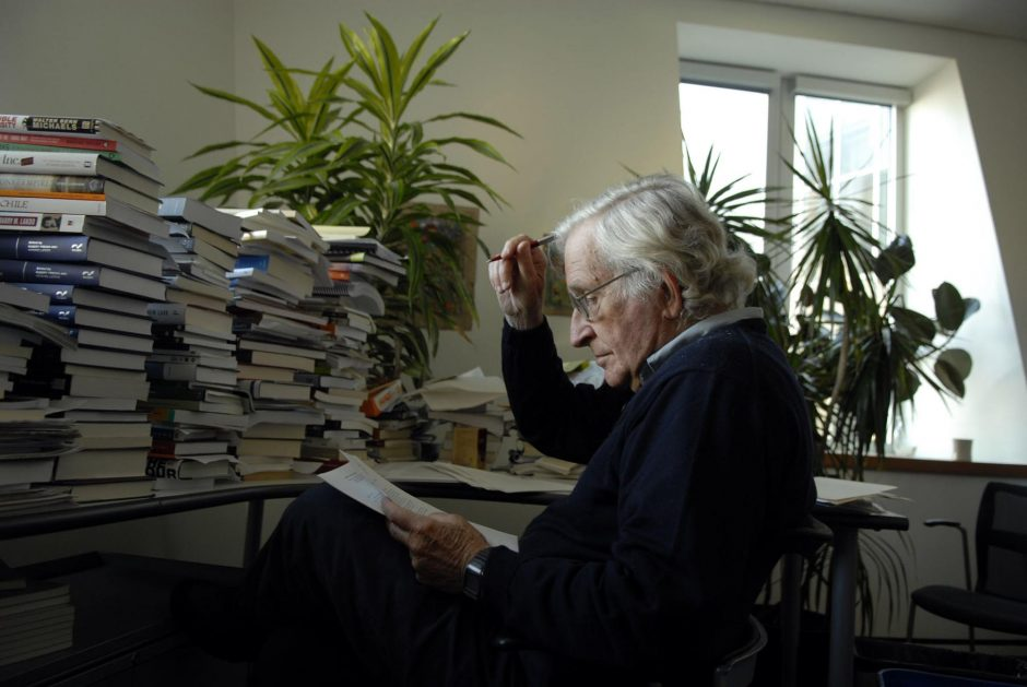 The linguist Noam Chomsky in his office at the Massachusetts Institute of Technology in Cambridgein a file photo from 2006. (Jodi Hilton/The New York Times)