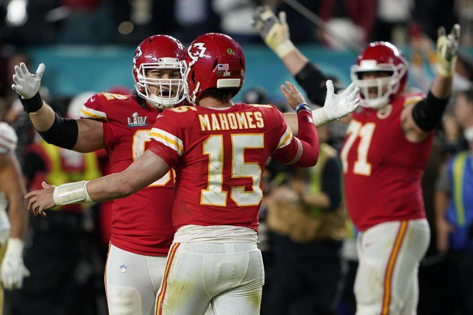 Kansas City Chiefs Patrick Mahomes celebrates with teammates after their win in Super Bowl LIV at Hard Rock Stadium in Miami Gardens, Fla. on Sunday, Feb. 2, 2020.