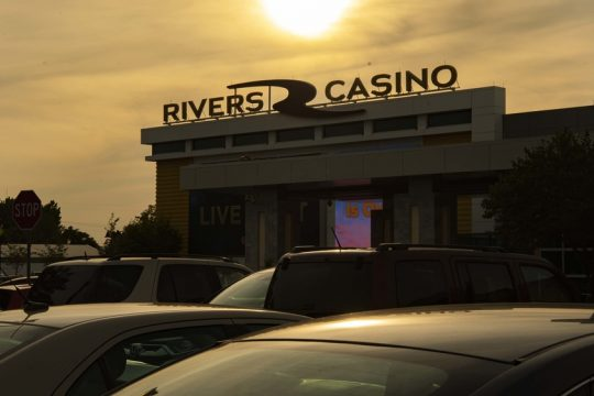 The sun sets on Rivers Casino's reopening day Sept. 9. Credit: Peter Barber/Staff Photographer