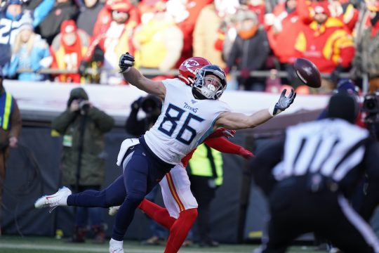 Tennessee Titans tight end Anthony Firkser during the NFL AFC championship game against the Kansas City Chiefs, at Arrowhead Stadium in Kansas City, Mo., Jan. 19, 2020.