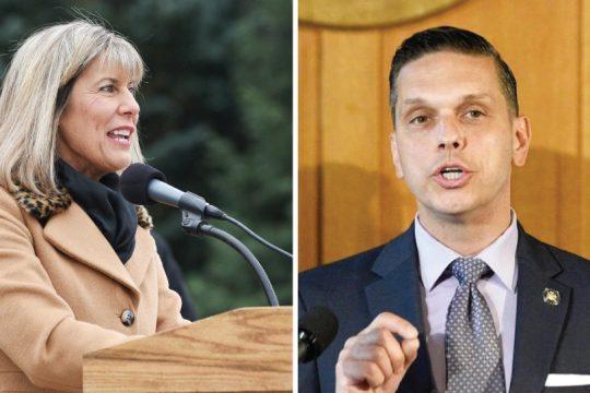 Senator Daphne Jordan, left, and Assemblyman Angelo Santabarbara.