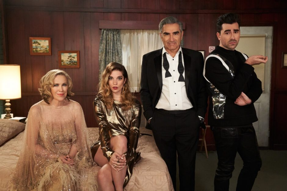 """From left, Catherine O'Hara, Annie Murphy, Eugene Levy and Daniel Levy. All won Emmy Awards Sunday night for their roles on """"Schitt's Creek."""" (New York Times)"""