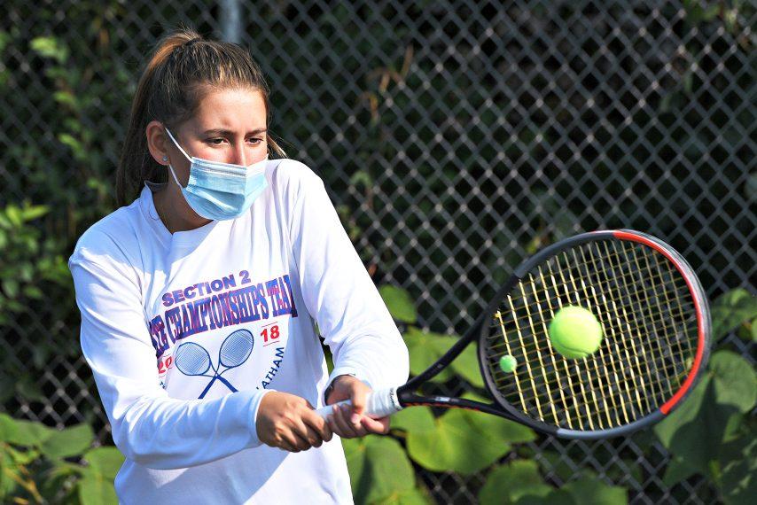 Loren Cuomo is shown at Monday's tennis practice. (Erica Miller)